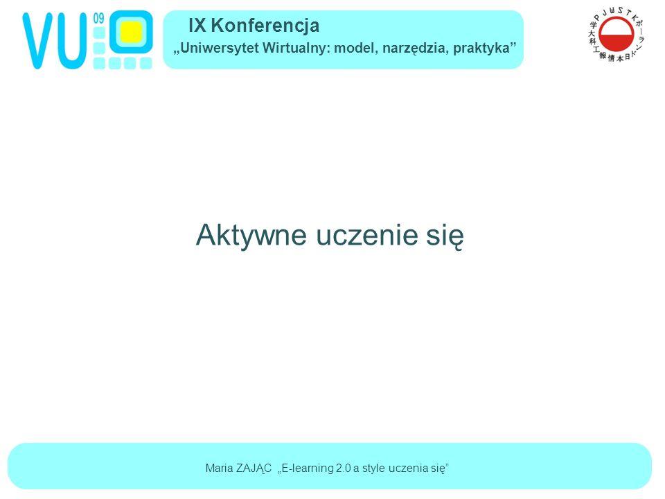 """IX Konferencja """"Uniwersytet Wirtualny: model, narzędzia, praktyka Maria ZAJĄC """"E-learning 2.0 a style uczenia się Aktywne uczenie się"""