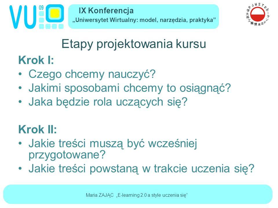 """IX Konferencja """"Uniwersytet Wirtualny: model, narzędzia, praktyka Maria ZAJĄC """"E-learning 2.0 a style uczenia się Etapy projektowania kursu Krok I: Czego chcemy nauczyć."""