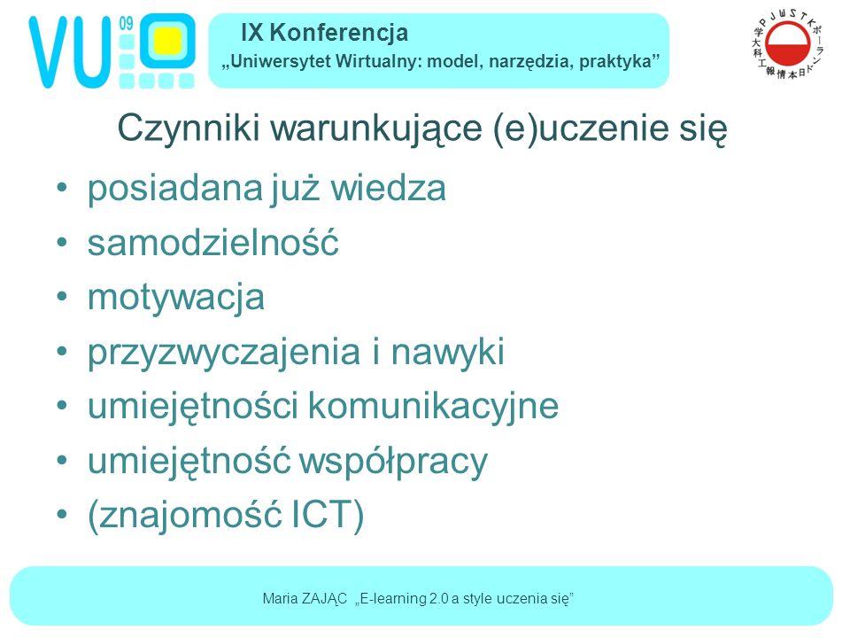 """IX Konferencja """"Uniwersytet Wirtualny: model, narzędzia, praktyka Maria ZAJĄC """"E-learning 2.0 a style uczenia się Próba syntezy - style uczenia się I."""