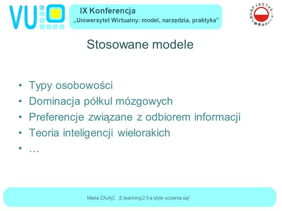 """IX Konferencja """"Uniwersytet Wirtualny: model, narzędzia, praktyka Maria ZAJĄC """"E-learning 2.0 a style uczenia się Stosowane modele Typy osobowości Dominacja półkul mózgowych Preferencje związane z odbiorem informacji Teoria inteligencji wielorakich …"""