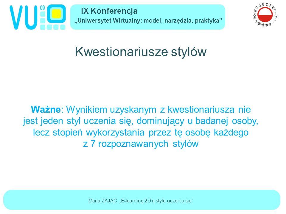 """IX Konferencja """"Uniwersytet Wirtualny: model, narzędzia, praktyka Maria ZAJĄC """"E-learning 2.0 a style uczenia się Przykładowy profil"""