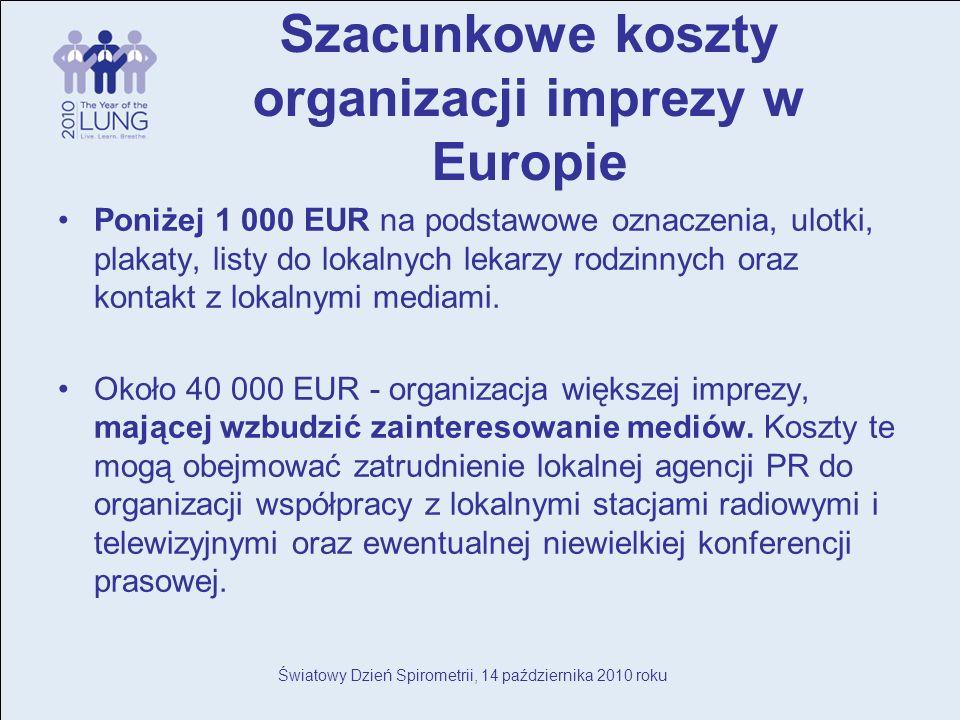 Światowy Dzień Spirometrii, 14 października 2010 roku Szacunkowe koszty organizacji imprezy w Europie Poniżej 1 000 EUR na podstawowe oznaczenia, ulotki, plakaty, listy do lokalnych lekarzy rodzinnych oraz kontakt z lokalnymi mediami.