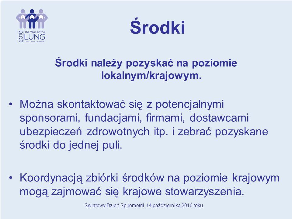 Światowy Dzień Spirometrii, 14 października 2010 roku Środki Środki należy pozyskać na poziomie lokalnym/krajowym.