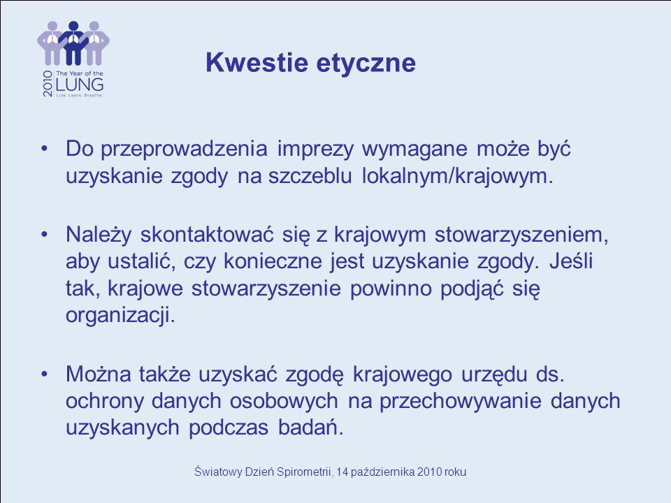 Światowy Dzień Spirometrii, 14 października 2010 roku Do przeprowadzenia imprezy wymagane może być uzyskanie zgody na szczeblu lokalnym/krajowym.