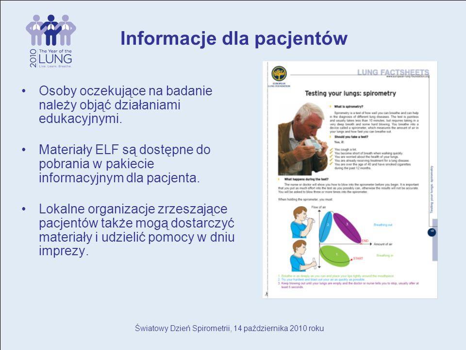 Światowy Dzień Spirometrii, 14 października 2010 roku Osoby oczekujące na badanie należy objąć działaniami edukacyjnymi.
