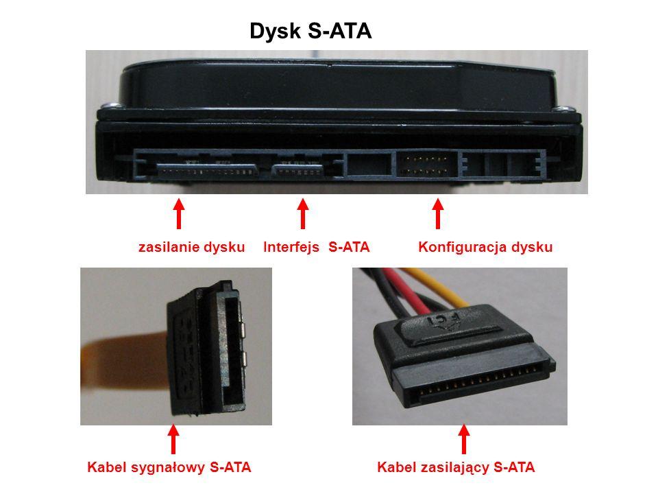 Dysk S-ATA Interfejs S-ATAKonfiguracja dysku Kabel sygnałowy S-ATAKabel zasilający S-ATA zasilanie dysku