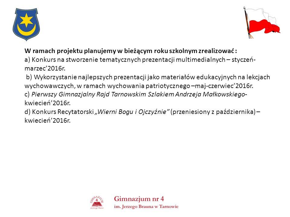 W ramach projektu planujemy w bieżącym roku szkolnym zrealizować : a) Konkurs na stworzenie tematycznych prezentacji multimedialnych – styczeń- marzec