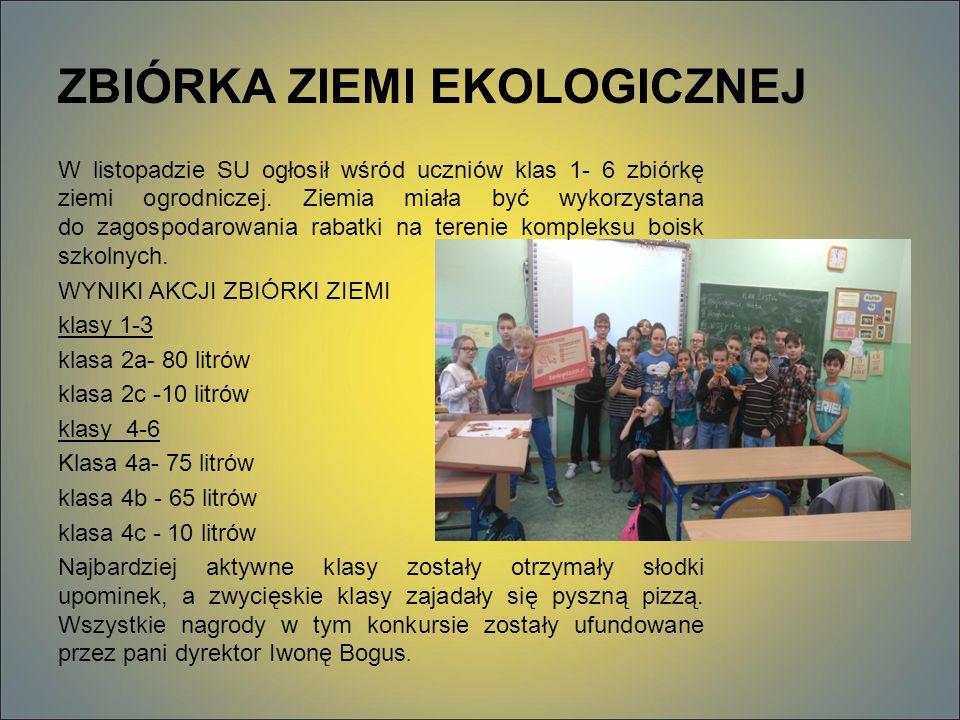 ZBIÓRKA ZIEMI EKOLOGICZNEJ W listopadzie SU ogłosił wśród uczniów klas 1- 6 zbiórkę ziemi ogrodniczej.