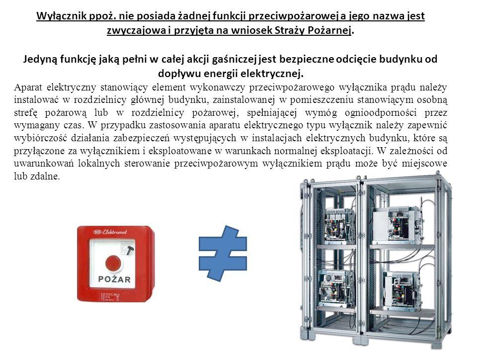 Zastosowany aparat elektryczny w układzie przeciwpożarowego wyłącznika prądu musi posiadać możliwość ręcznego rozłączenia układu zasilania instalacji budynku.