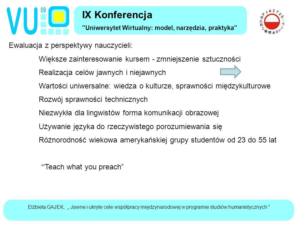 """Elżbieta GAJEK, """" Jawne i ukryte cele współpracy międzynarodowej w programie studiów humanistycznych Wnioski Projekt współpracy z rodzimymi użytkownikami języka musi: Zawierać treści interesujące dla nich, Być dobrze wbudowany w cele kursu akademickiego, Mieć charakter integrujący: język, kulturę, technikę jako środek współpracy, IX Konferencja Uniwersytet Wirtualny: model, narzędzia, praktyka"""