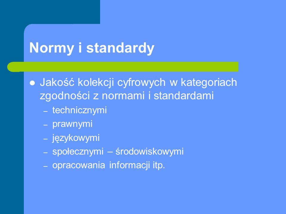 Normy i standardy Jakość kolekcji cyfrowych w kategoriach zgodności z normami i standardami – technicznymi – prawnymi – językowymi – społecznymi – śro