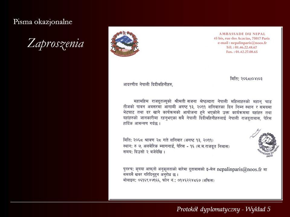 Pisma okazjonalne Zaproszenia