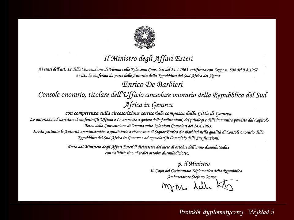 Protokół dyplomatyczny - Wykład 5