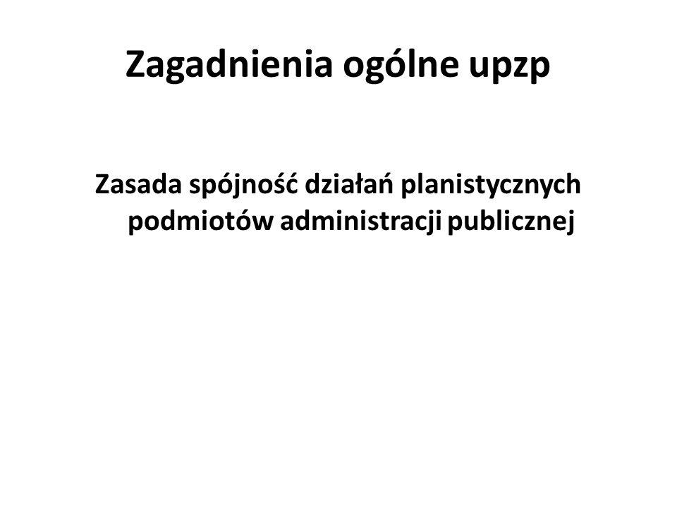 Zagadnienia ogólne upzp Zasada spójność działań planistycznych podmiotów administracji publicznej