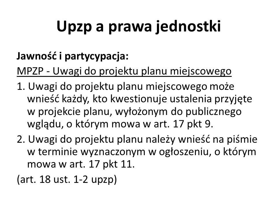 Upzp a prawa jednostki Jawność i partycypacja: MPZP - Uwagi do projektu planu miejscowego 1.