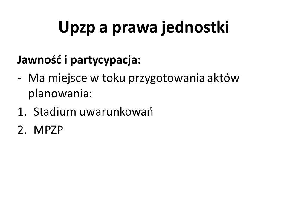 Upzp a prawa jednostki Jawność i partycypacja: -Ma miejsce w toku przygotowania aktów planowania: 1.Stadium uwarunkowań 2.MPZP