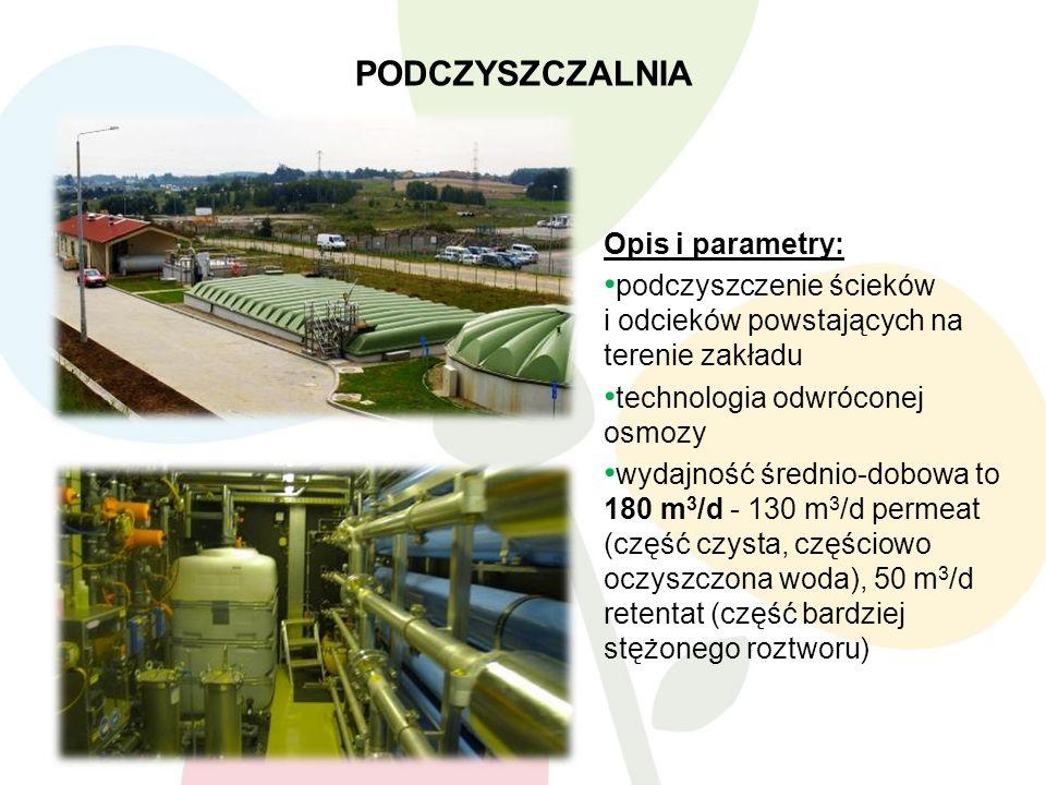 PODCZYSZCZALNIA 11 Opis i parametry: podczyszczenie ścieków i odcieków powstających na terenie zakładu technologia odwróconej osmozy wydajność średnio-dobowa to 180 m 3 /d - 130 m 3 /d permeat (część czysta, częściowo oczyszczona woda), 50 m 3 /d retentat (część bardziej stężonego roztworu)