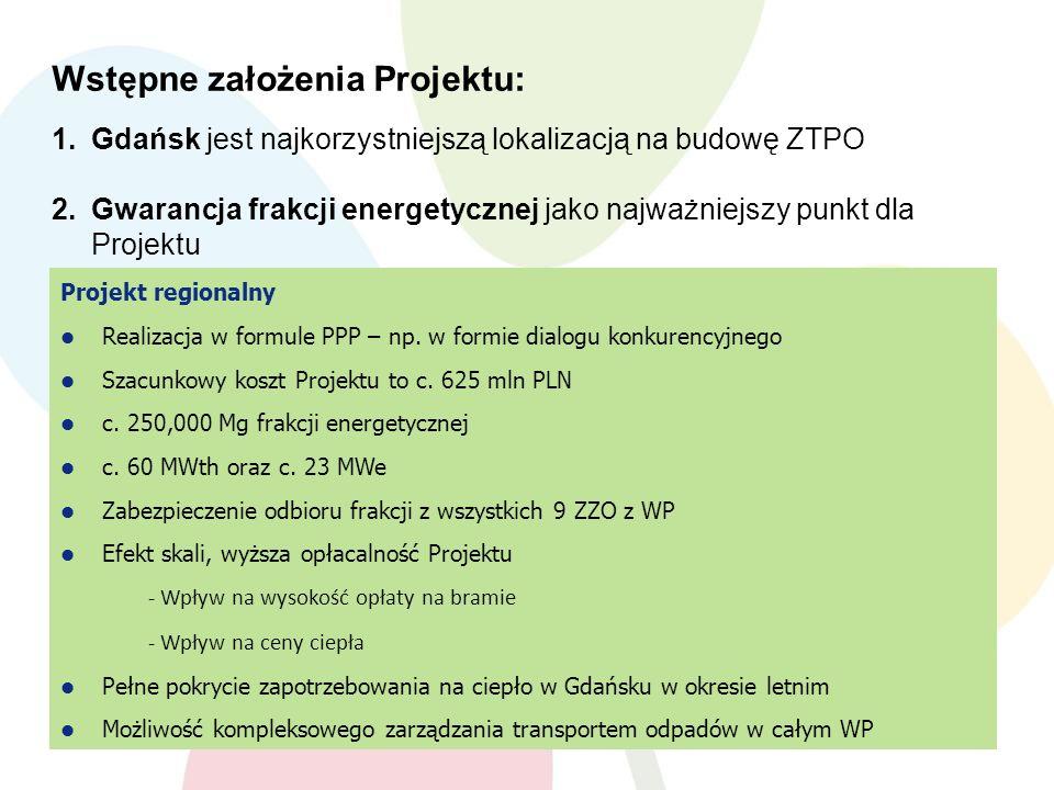 Projekt regionalny Realizacja w formule PPP – np. w formie dialogu konkurencyjnego Szacunkowy koszt Projektu to c. 625 mln PLN c. 250,000 Mg frakcji e