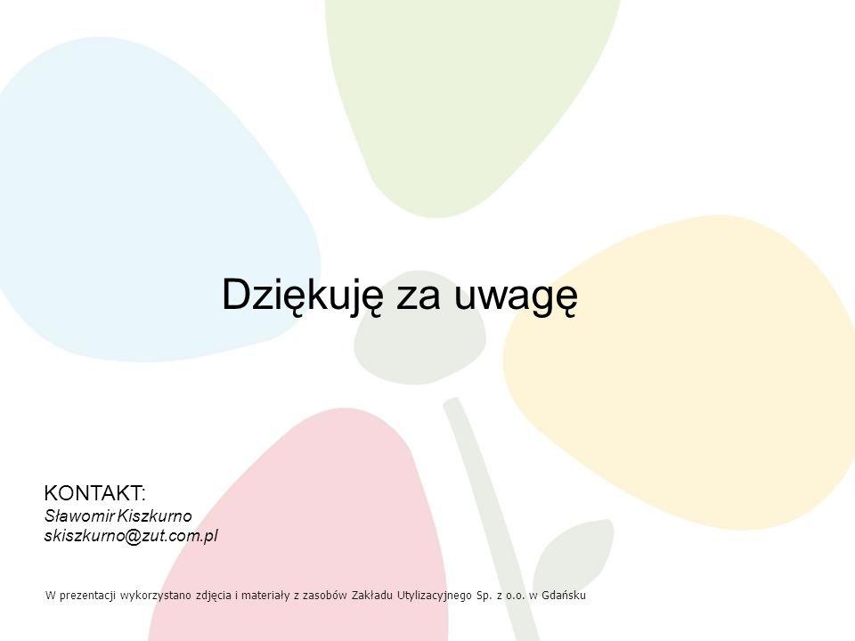 KONTAKT: Sławomir Kiszkurno skiszkurno@zut.com.pl W prezentacji wykorzystano zdjęcia i materiały z zasobów Zakładu Utylizacyjnego Sp. z o.o. w Gdańsku