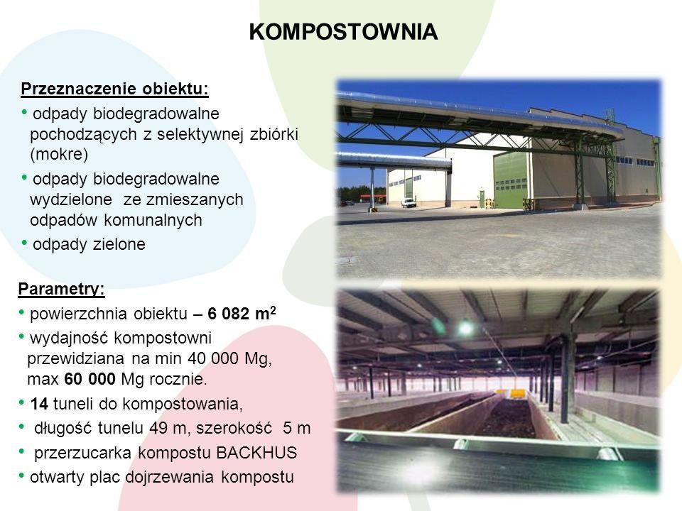 KOMPOSTOWNIA Parametry: powierzchnia obiektu – 6 082 m 2 wydajność kompostowni przewidziana na min 40 000 Mg, max 60 000 Mg rocznie. 14 tuneli do komp