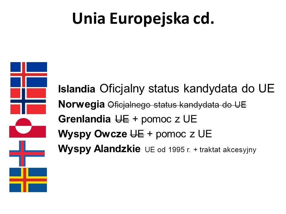 Unia Europejska cd. Islandia Oficjalny status kandydata do UE Norwegia Oficjalnego status kandydata do UE Grenlandia UE + pomoc z UE Wyspy Owcze UE +