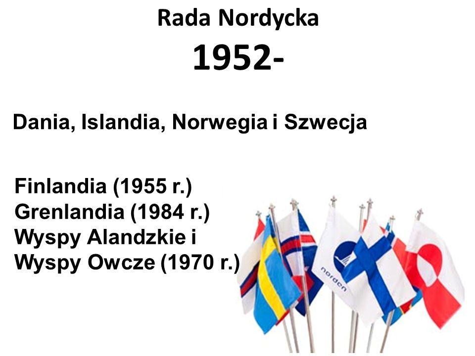 Rada Nordycka 1952- Finlandia (1955 r.) Grenlandia (1984 r.) Wyspy Alandzkie i Wyspy Owcze (1970 r.) Dania, Islandia, Norwegia i Szwecja