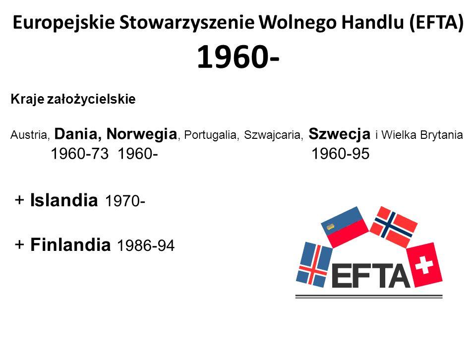 Europejskie Stowarzyszenie Wolnego Handlu (EFTA) 1960- Kraje założycielskie Austria, Dania, Norwegia, Portugalia, Szwajcaria, Szwecja i Wielka Brytani