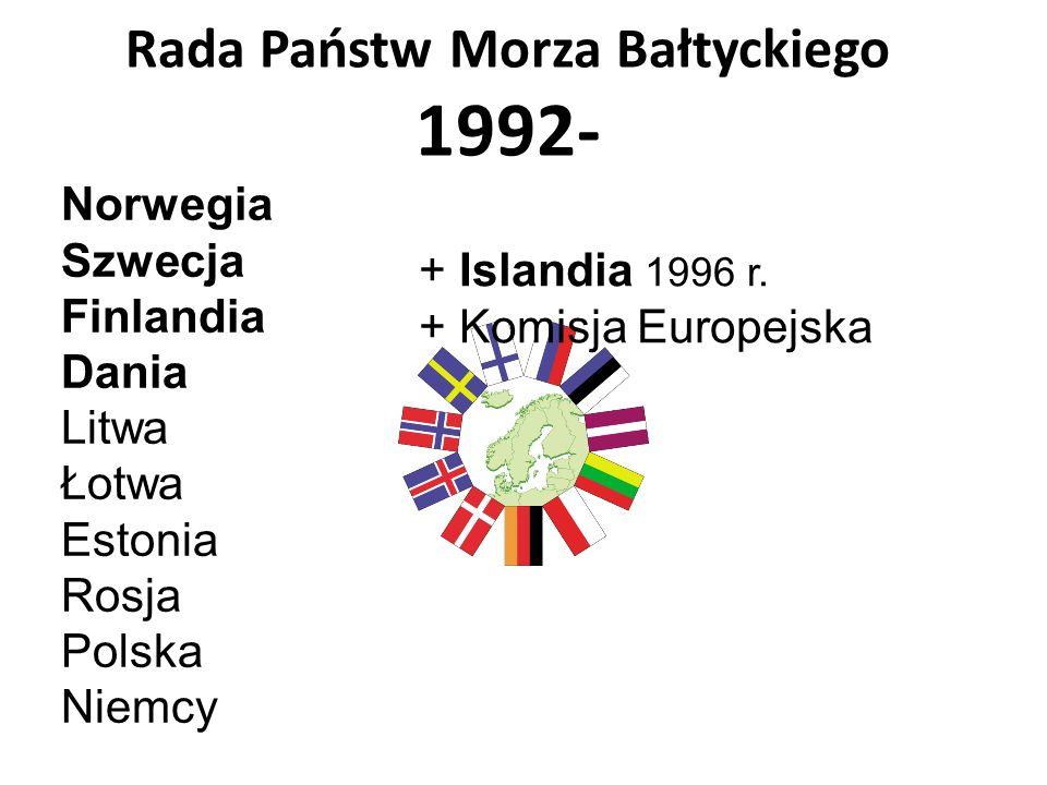 Rada Państw Morza Bałtyckiego 1992- Norwegia Szwecja Finlandia Dania Litwa Łotwa Estonia Rosja Polska Niemcy + Islandia 1996 r. + Komisja Europejska