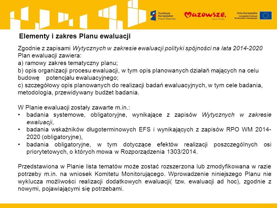 Zgodnie z zapisami Wytycznych w zakresie ewaluacji polityki spójności na lata 2014-2020 Plan ewaluacji zawiera: a) ramowy zakres tematyczny planu; b) opis organizacji procesu ewaluacji, w tym opis planowanych działań mających na celu budowę potencjału ewaluacyjnego; c) szczegółowy opis planowanych do realizacji badań ewaluacyjnych, w tym cele badania, metodologia, przewidywany budżet badania.