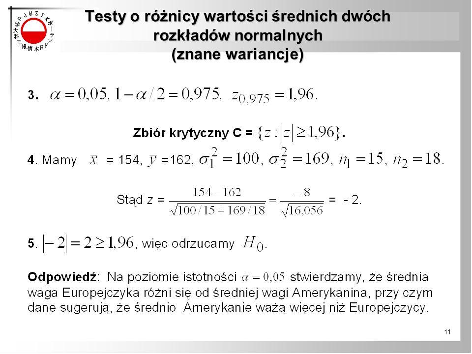 Testy o różnicy wartości średnich dwóch rozkładów normalnych (znane wariancje) 11