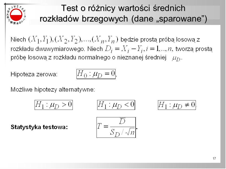 """Test o różnicy wartości średnich rozkładów brzegowych (dane """"sparowane"""") 17"""