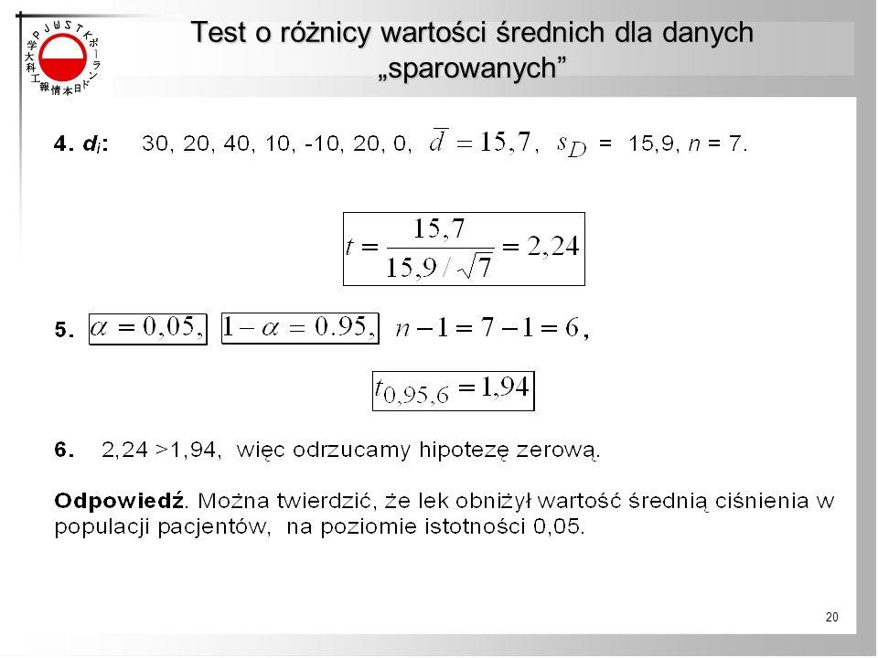"""Test o różnicy wartości średnich dla danych """"sparowanych 20"""