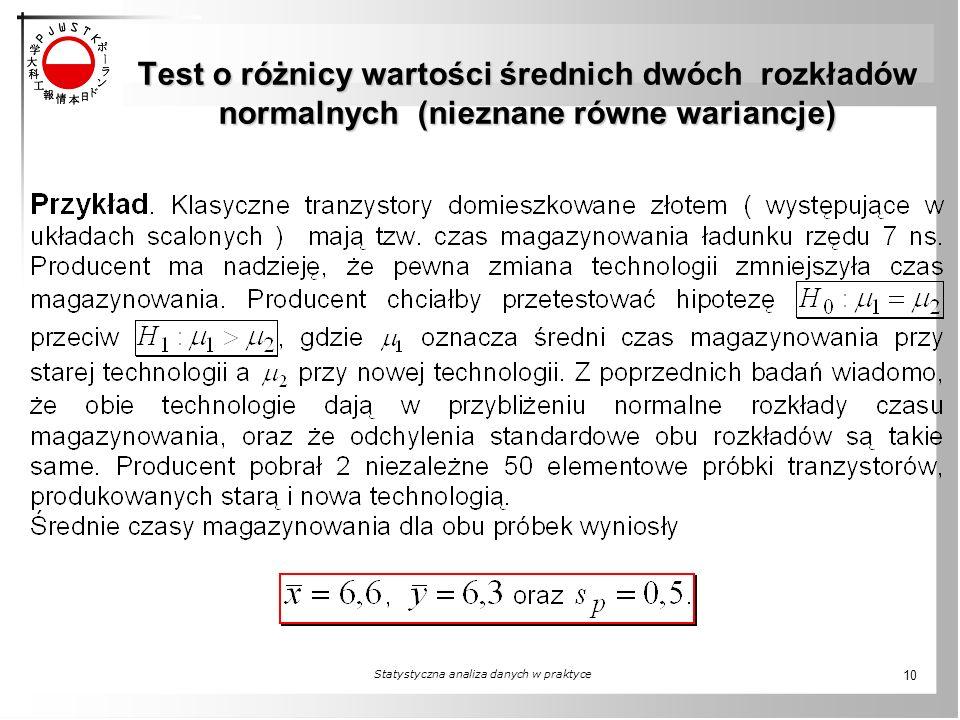 Test o różnicy wartości średnich dwóch rozkładów normalnych (nieznane równe wariancje) Statystyczna analiza danych w praktyce 10