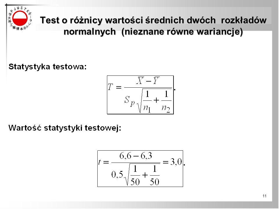 Test o różnicy wartości średnich dwóch rozkładów normalnych (nieznane równe wariancje) 11