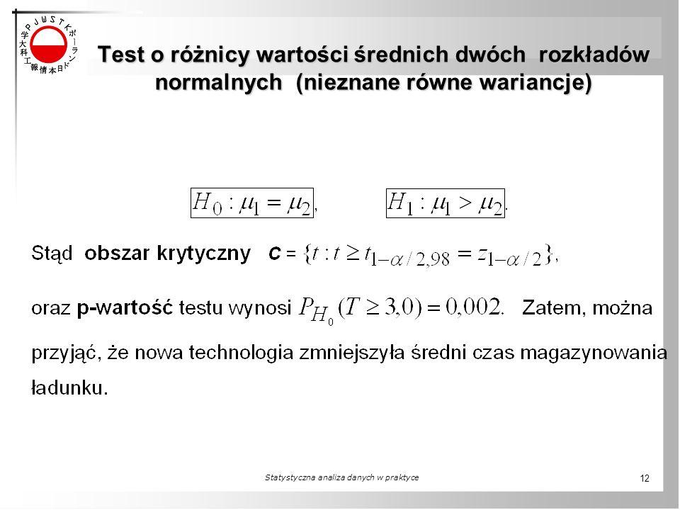 Test o różnicy wartości średnich dwóch rozkładów normalnych (nieznane równe wariancje) Statystyczna analiza danych w praktyce 12