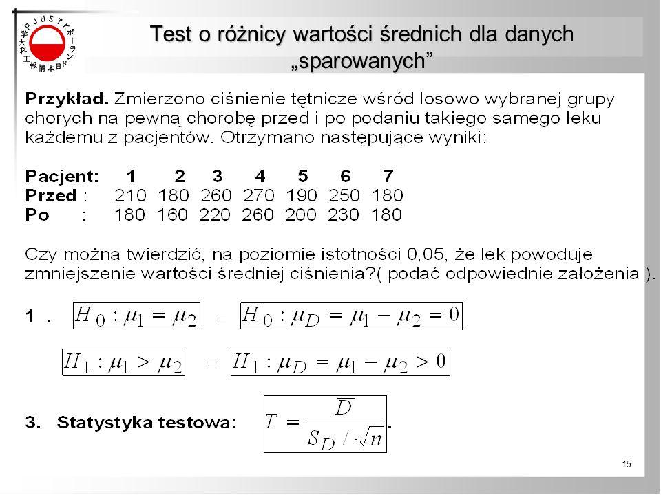 """Test o różnicy wartości średnich dla danych """"sparowanych"""" 15"""