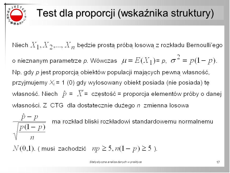 Test dla proporcji (wskaźnika struktury) Statystyczna analiza danych w praktyce 17
