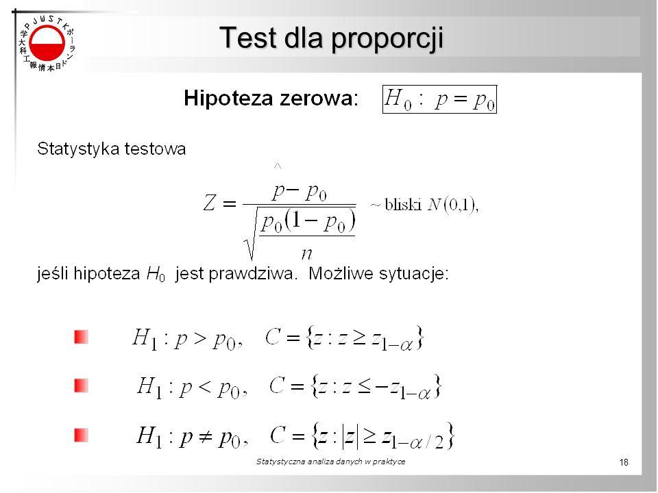 Test dla proporcji Statystyczna analiza danych w praktyce 18