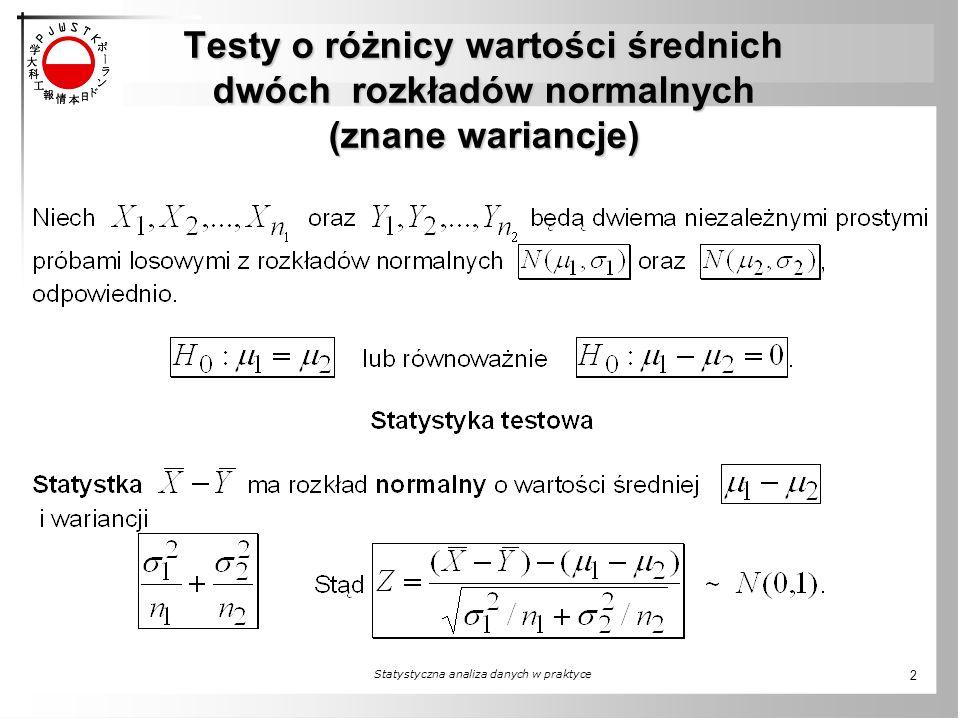 Testy o różnicy wartości średnich dwóch rozkładów normalnych (znane wariancje) Statystyczna analiza danych w praktyce 2