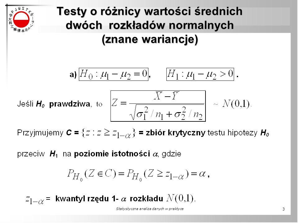 Testy o różnicy wartości średnich dwóch rozkładów normalnych (znane wariancje) Statystyczna analiza danych w praktyce 3