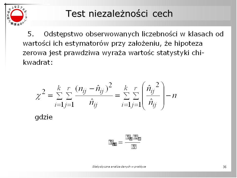 Test niezależności cech Statystyczna analiza danych w praktyce 36