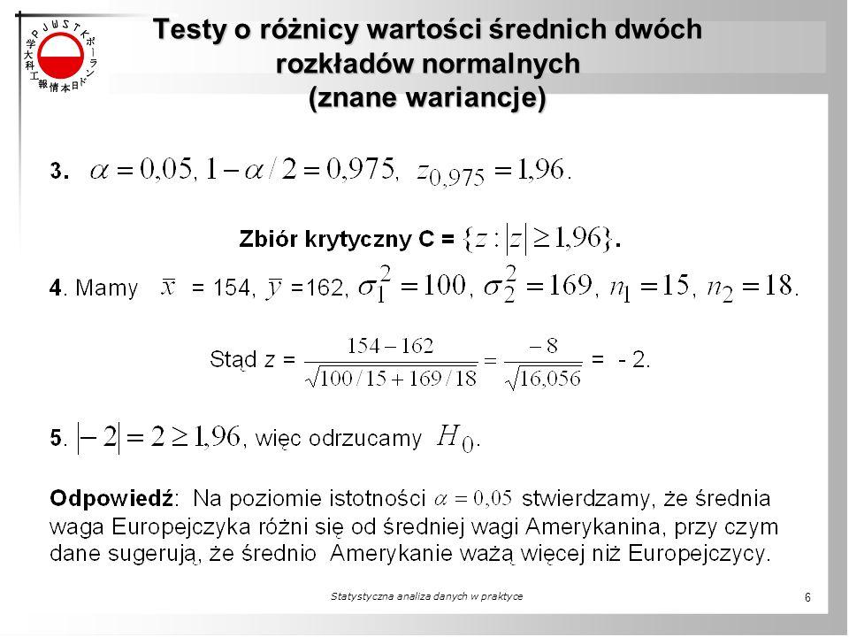 Testy o różnicy wartości średnich dwóch rozkładów normalnych (znane wariancje) Statystyczna analiza danych w praktyce 6