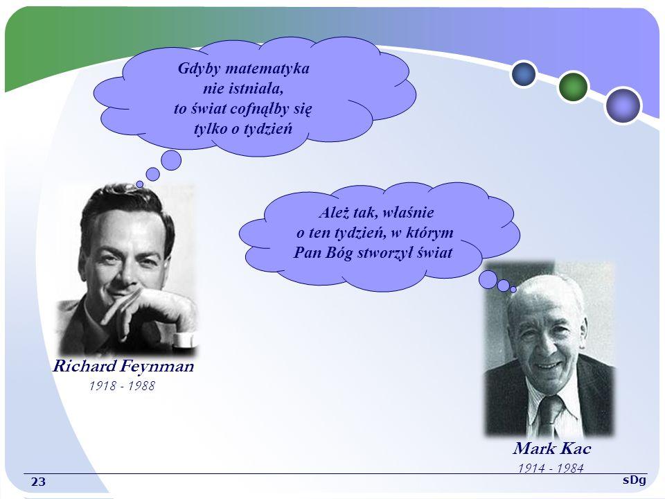 Gdyby matematyka nie istniała, to świat cofnąłby się tylko o tydzień Ależ tak, właśnie o ten tydzień, w którym Pan Bóg stworzył świat 23 sDg Richard Feynman 1918 - 1988 Mark Kac 1914 - 1984