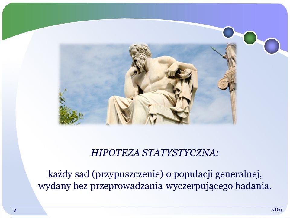 HIPOTEZA STATYSTYCZNA: każdy sąd (przypuszczenie) o populacji generalnej, wydany bez przeprowadzania wyczerpującego badania.
