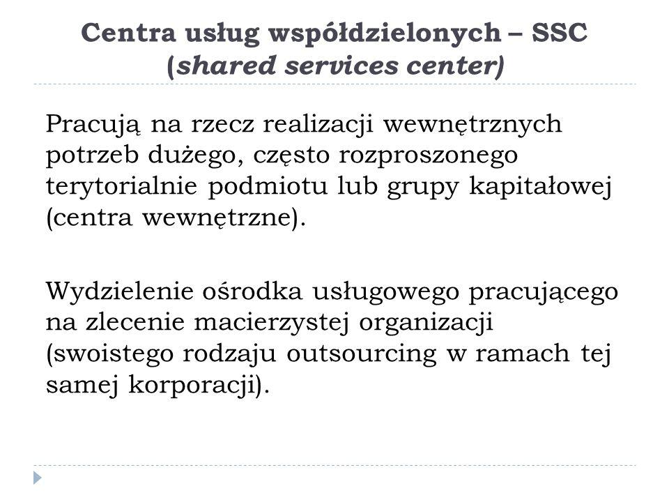 Centra usług współdzielonych – SSC ( shared services center) Pracują na rzecz realizacji wewnętrznych potrzeb dużego, często rozproszonego terytorialnie podmiotu lub grupy kapitałowej (centra wewnętrzne).