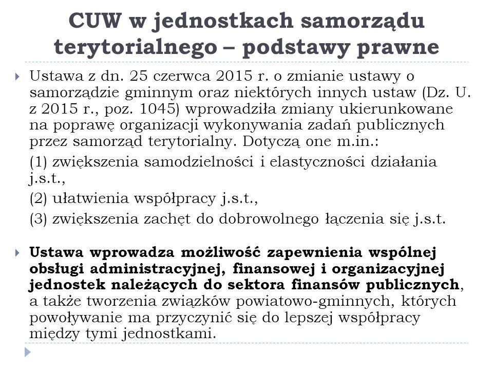 CUW w jednostkach samorządu terytorialnego – podstawy prawne  Ustawa z dn.
