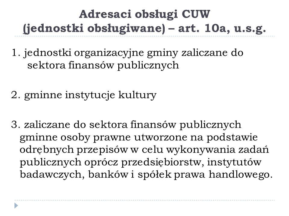 Adresaci obsługi CUW (jednostki obsługiwane) – art.