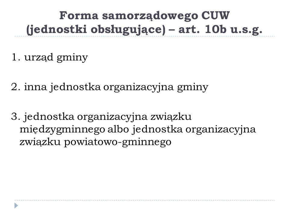Forma samorządowego CUW (jednostki obsługujące) – art.