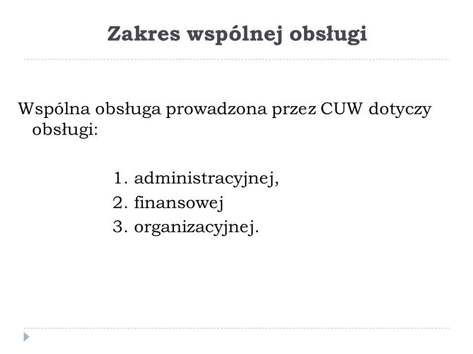 Zakres wspólnej obsługi Wspólna obsługa prowadzona przez CUW dotyczy obsługi: 1.