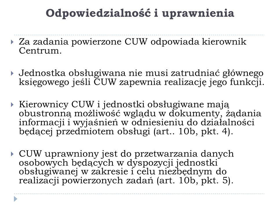 Odpowiedzialność i uprawnienia  Za zadania powierzone CUW odpowiada kierownik Centrum.